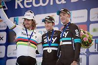 E3 - Harelbeke 2016 podium:<br /> 1/ Michal Kwiatkowski (POL/SKY)<br /> 2/ Peter Sagan (SVK/Tinkoff)<br /> 3/ Ian Stannard (GBR/SKY)