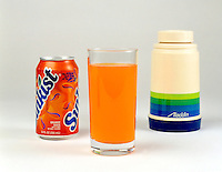 INSULATION COMPARISON: GLASS, SODA CAN & THERMOS <br /> Glass is a poor conductor of heat & is thus a better insulator than the aluminum soda can.  The thermos bottle provides insulation by its evacuated double wall which is coated with reflective metal.