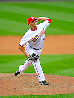 13 April 2009: Washington Nationals' pitcher Wil Ledezma on the mound in relief against the Philadelphia Phillies during the Nats' Home Opener at Nationals Park in Washington, DC. The Nats fell short in their 9th inning rally, losing 9-8, and marking their 7th consecutive loss of the 2009 season. Mandatory Credit: Ed Wolfstein Photo