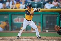 Matt Thaiss (17) of the Salt Lake Bees bats against the New Orleans Baby Cakes at Smith's Ballpark on June 11, 2018 in Salt Lake City, Utah. New Orleans defeated Salt Lake 6-5.  (Stephen Smith/Four Seam Images)