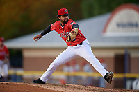 Batavia Muckdogs relief pitcher Jeremy Ovalle (19) during a NY-Penn League game against the Auburn Doubledays on June 18, 2019 at Dwyer Stadium in Batavia, New York.  Batavia defeated Auburn 7-5.  (Mike Janes/Four Seam Images)