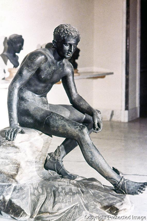 Greek Art:  Hermes at Rest. Bronze sculpture.   National Museum, Naples.
