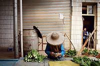 Market scene in Zijun village, home of the Samatao minority.
