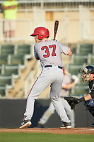 Alex Dunlap (37) of the Hagerstown Suns at bat against the Kannapolis Intimidators at Kannapolis Intimidators Stadium on July 16, 2018 in Kannapolis, North Carolina. The Intimidators defeated the Suns 7-6. (Brian Westerholt/Four Seam Images)