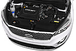 Car Stock 2015 KIA Sorento Fusion AWD 5 Door Suv Engine high angle detail view