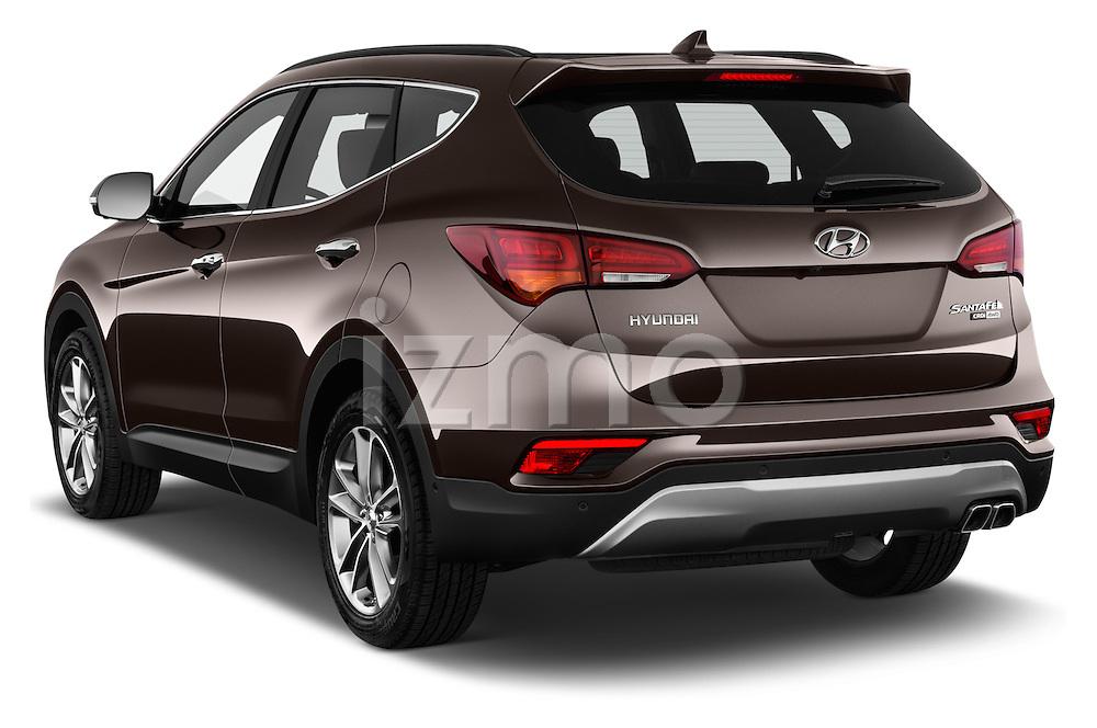 Car pictures of rear three quarter view of 2016 Hyundai Santa-Fe Executive 5 Door Suv Angular Rear