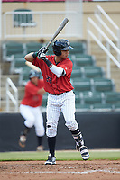 Ramon Beltre (22) of the Kannapolis Intimidators at bat against the Greensboro Grasshoppers at Kannapolis Intimidators Stadium on August 5, 2018 in Kannapolis, North Carolina. The Grasshoppers defeated the Intimidators 2-1 in game one of a double-header.  (Brian Westerholt/Four Seam Images)