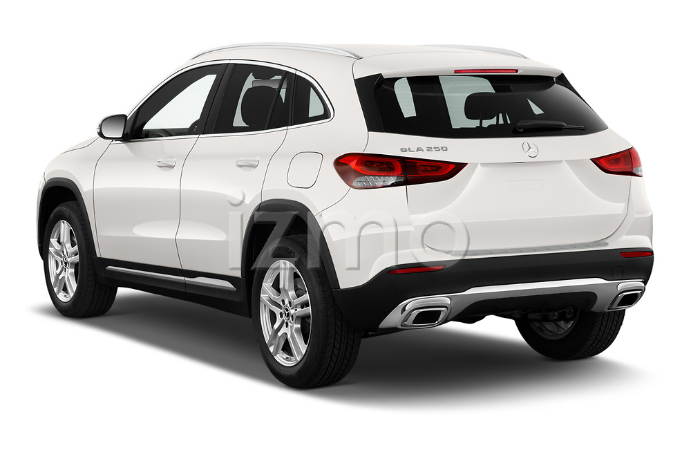 Car pictures of rear three quarter view of 2021 Mercedes Benz GLA GLA250 5 Door SUV Angular Rear