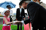 The Governor General, David Johnston is greeted at Queen's Plate  at Woodbine Raceway in Toronto, Canada on July 07, 2013.