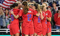 Saint Paul, MN - SEPTEMBER 03: The USWNT celebrate a goal during their 2019 Victory Tour match versus Portugal at Allianz Field, on September 03, 2019 in Saint Paul, Minnesota.