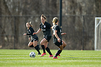 LOUISVILLE, KY - MARCH 13: Savannah McCaskill #7 of Racing Louisville FC moves the ball up the field during a game between West Virginia University and Racing Louisville FC at Thurman Hutchins Park on March 13, 2021 in Louisville, Kentucky.