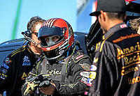 Mar. 15, 2013; Gainesville, FL, USA; NHRA funny car driver Tony Pedregon during qualifying for the Gatornationals at Auto-Plus Raceway at Gainesville. Mandatory Credit: Mark J. Rebilas-