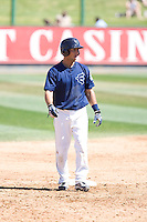 July 25, 2010: Everett AquaSox's Kevin Mailloux (10) gets a lead off second base during a Northwest League game against the Salem-Keizer Volcanoes at Everett Memorial Stadium in Everett, Washington.