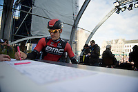 Jempy Drucker (LUX/BMC) signing in on the start podium<br /> <br /> 99th Ronde van Vlaanderen 2015