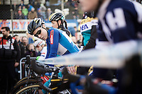 Sanne Cant (BEL/Enertherm-BKCP) at the start<br /> <br /> UCI Cyclocross World Cup Heusden-Zolder 2015