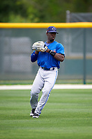 Toronto Blue Jays JD Davis (32) during practice before a minor league Spring Training game against the Pittsburgh Pirates on March 24, 2016 at Pirate City in Bradenton, Florida.  (Mike Janes/Four Seam Images)
