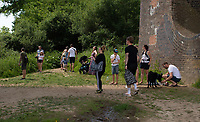 SURREY, ENGLAND. 25.05.2020<br /> .<br /> People gather in groups at the Viaduct during the bank holiday Monday Covid-19 lockdown with government guidelines to social distance  at OUSE RIVER VALLEY VIADUCT, England at  on 25 May 2020. Photo by Alan Stanford.
