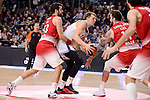 Real Madrid's Luka Doncic and EA7 Emporio Armani Milan's Krunoslav Simon and Miroslav Raduljica during Turkish Airlines Euroleage match between Real Madrid and EA7 Emporio Armani Milan at Wizink Center in Madrid, Spain. January 27, 2017. (ALTERPHOTOS/BorjaB.Hojas)