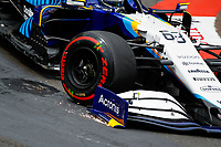 22nd May 2021; Principality of Monaco; F1 Grand Prix of Monaco, qualifying sessions;  63 RUSSELL George (gbr), Williams Racing F1 FW43B sparks on a bumpy circuit