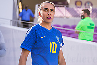 ORLANDO, FL - FEBRUARY 24: Marta #10 of Brazil walks out of the tunnel before a game between Brazil and Canada at Exploria Stadium on February 24, 2021 in Orlando, Florida.