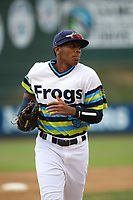 Ronald Rosario (10) of the Everett AquaSox in the field during a game against the Boise Hawks at Everett Memorial Stadium on July 21, 2017 in Everett, Washington. Boise defeated Everett, 10-4. (Larry Goren/Four Seam Images)