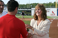 June 19, 2009:  Naomi Silver presents Ryan Crotin with his championship ring during a ceremony to award the 2008 NY-Penn League Champions before a game at Dwyer Stadium in Batavia, NY.  The Batavia Muckdogs are the NY-Penn League Short Season Class-A affiliate of the St. Louis Cardinals.  Photo by:  Mike Janes/Four Seam Images