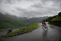 Jasper De Buyst (BEL/Lotto Soudal) descending the Col du Pré (HC/1748m) towards the Barrage de Roselend in, yet again, grim conditions.<br /> <br /> Stage 9 from Cluses to Tignes (145km)<br /> 108th Tour de France 2021 (2.UWT)<br /> <br /> ©kramon