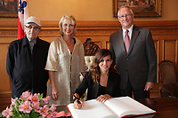 August 27 2012 - Montreal (Qc) CANADA - <br /> The jury of the 2012 World Film Festival at  Montreal City hall.<br /> Serge Losique,Helen Foutopoulos<br /> and Gerald Tremblay, Mayor of Montreal stand behind   Goya Toledo,<br /> <br /> The World Films Festival 35th edition run til September 2012.<br /> <br /> <br />  File Photo Agence Quebec Presse - Pierre Roussel