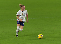 ORLANDO CITY, FL - FEBRUARY 18: Emily Sonnett #14 looks for options with the ball during a game between Canada and USWNT at Exploria stadium on February 18, 2021 in Orlando City, Florida.