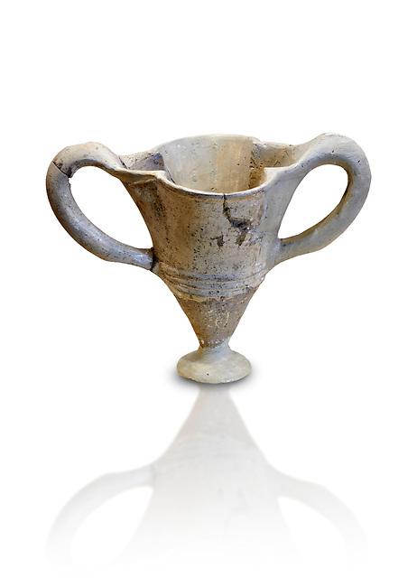 Hittite terra cotta twa handles fluted vase. Hittite Empire, Alaca Hoyuk, 1450 - 1200 BC. Alaca Hoyuk. Çorum Archaeological Museum, Corum, Turkey. Against a white bacground.