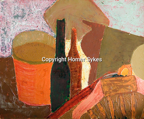 Painting by Homer Sykes 1966, age 17 yrs Sidcot School. Somerset. Art master Mr James Bradley.