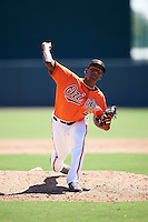 Baltimore Orioles pitcher Jose Diaz (64) during an Instructional League game against the Boston Red Sox on September 22, 2016 at the Ed Smith Stadium in Sarasota, Florida.  (Mike Janes/Four Seam Images)
