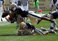 Pitt defensive backs Jason Hendricks #25 and Antwuan Reed put a hard hit on New Hampshire tight end Chris Jeannot. The Pittsburgh Panthers defeat the New Hampshire Wildcats 38-16 at Heinz Field, Pittsburgh Pennsylvania on September 11, 2010.