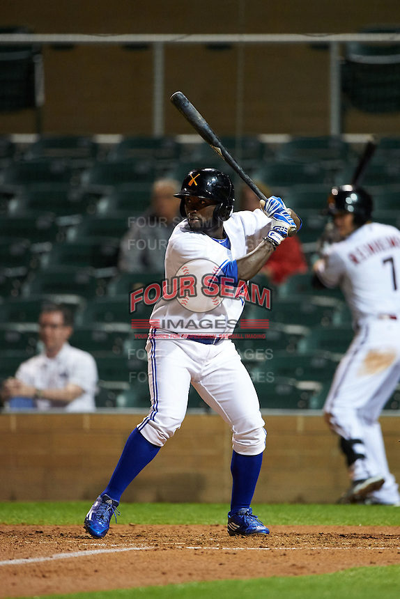 Salt River Rafters outfielder Roemon Fields (8) at bat during an Arizona Fall League game against the Glendale Desert Dogs on October 22, 2015 at Salt River Fields at Talking Stick in Scottsdale, Arizona.  Glendale defeated Salt River 7-5.  (Mike Janes/Four Seam Images)