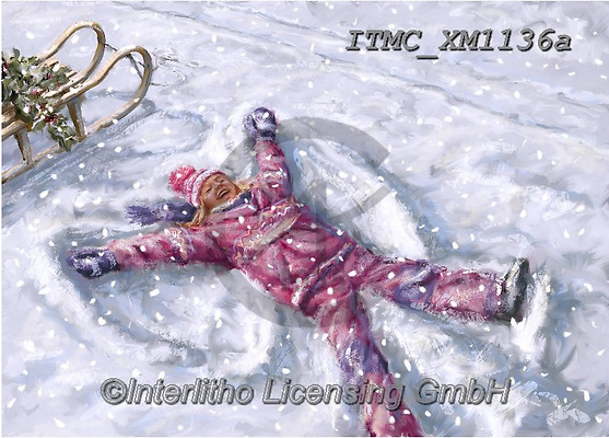 Marcello, CHRISTMAS CHILDREN, WEIHNACHTEN KINDER, NAVIDAD NIÑOS, paintings+++++,ITMCXM1136A,#xk# ,playing in snow