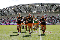 Photo: Richard Lane/Richard Lane Photography. Stade Francais v London Wasps. European Rugby Champions Cup Play-Off. 24/05/2014. Wasps' Chris Bell leads the team off the field after warm up.