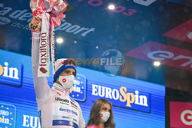 Race leader Joao Almeida (POR) Deceuninck-Quick Step also retains the young riders Maglia Bianca at the end of Stage 9 of the 103rd edition of the Giro d'Italia 2020 running 208km from San Salvo to Roccaraso (Aremogna), Sicily, Italy. 11th October 2020.  <br /> Picture: LaPresse/Massimo Paolone | Cyclefile<br /> <br /> All photos usage must carry mandatory copyright credit (© Cyclefile | LaPresse/Massimo Paolone)