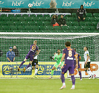 23rd May 2021; HBF Park, Perth, Western Australia, Australia; A League Football, Perth Glory versus Macarthur; Andy Keogh of Perth Glory wins the header but heads the ball over the cross bar