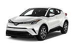 2018 Toyota C-HR XLE-Premium 5 Door SUV Angular Front stock photos of front three quarter view
