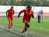 Vanity Lewerissa (21) of Standard  and Welma Fon (22) of Standard warming up before a female soccer game between Standard Femina de Liege and White Star Woluwe on the fifth matchday of the 2021 - 2022 season of Belgian Scooore Womens Super League , saturday 2 nd of October 2021  in Angleur , Belgium . PHOTO SPORTPIX   SEVIL OKTEM