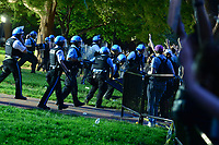 Washington, DC - May 31, 2020: U.S. Park Police and other law enforcement agencies restore a barricade toppled as protesters gather in Lafayette Park across from the White House May 31, 2020 following the death of George Floyd in Minneapolis.  (Photo by Don Baxter/Media Images International)