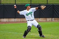 Clinton LumberKings catcher Rainis Silva (7) warms up in the outfield prior to a Midwest League game against the Lansing Lugnuts on July 15, 2018 at Ashford University Field in Clinton, Iowa. Clinton defeated Lansing 6-2. (Brad Krause/Four Seam Images)