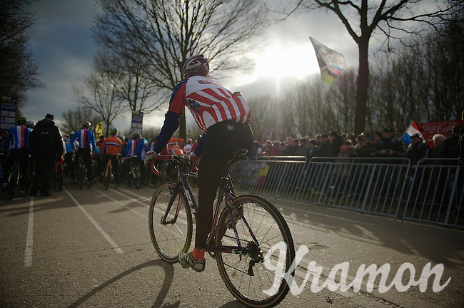 Jonathan Page (USA) to the start line<br /> <br /> 2014 UCI cyclo-cross World Championships, Elite Men