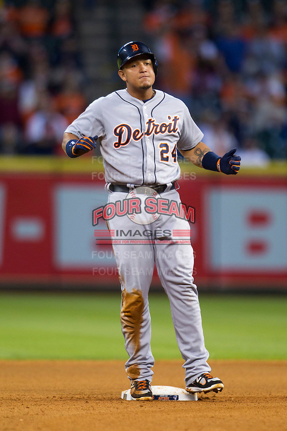 Detroit Tigers third baseman Miguel Cabrera (24) celebrates after doubling in the fourth inning of the MLB baseball game against the Houston Astros on May 3, 2013 at Minute Maid Park in Houston, Texas. Detroit defeated Houston 4-3. (Andrew Woolley/Four Seam Images).