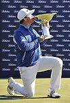 JEJU, SOUTH KOREA - APRIL 25:  Marcus Fraser of Australia poses with the trophy after winning the Ballantine's Championship at Pinx Golf Club on April 25, 2010 in Jeju, South Korea. Photo by Victor Fraile / The Power of Sport Images