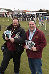 Whitehill Welfare 3 Gala Fairydean Rovers 0, 12/03/2016. Ferguson Park, Rosewell, Scottish Lowland League. GroundhopUK organisers Laurance Reade (left) and Chris Berezai pictured at Ferguson Park, Rosewell, as Whitehill Welfare take on Gala Fairydean Rovers in a Scottish Lowland League fixture, which the home team won 3-0. The match was one of six arranged by the league and GroundhopUK over the weekend to accommodate groundhoppers, fans who attempt to visit as many football venues as possible. Around 100 fans in two coaches from England participated in the 2016 Lowland League Groundhop and they were joined by other individuals from across the UK which helped boost crowds at the six featured matches. Photo by Colin McPherson.