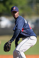 Cleveland Indians minor leaguer Luis Perdomo during Spring Training at the Chain of Lakes Complex on March 17, 2007 in Winter Haven, Florida.  (Mike Janes/Four Seam Images)