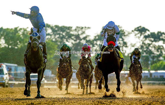June 5, 2021:  Essential Quality with Luis Saez wins the Belmont Stakes at Belmont Park in Elmont, New York on June 5, 2021. Evers/Eclipse Sportswire/CSM