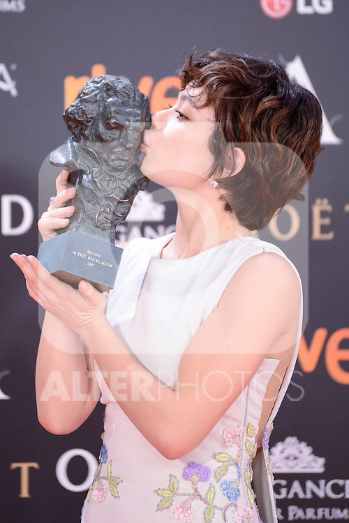 Anna Castillo pose to the media with the Goya award at Madrid Marriott Auditorium Hotel in Madrid, Spain. February 04, 2017. (ALTERPHOTOS/BorjaB.Hojas)