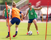 HOUSTON, TX - JUNE 12: Becky Sauerbrunn #4 defends Carli Lloyd #10 of the USWNT during a training session at University of Houston on June 12, 2021 in Houston, Texas.